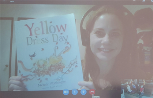 Michelle Wirthington and her book Yellow Dress Day